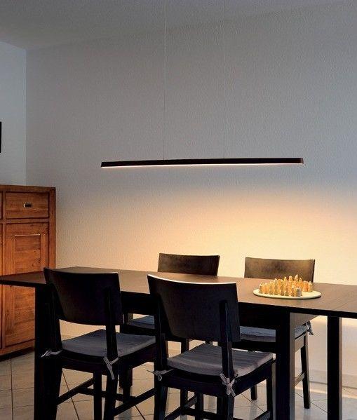 Bamboo Steel Slim Linear Led Pendant Dining Room Pendant
