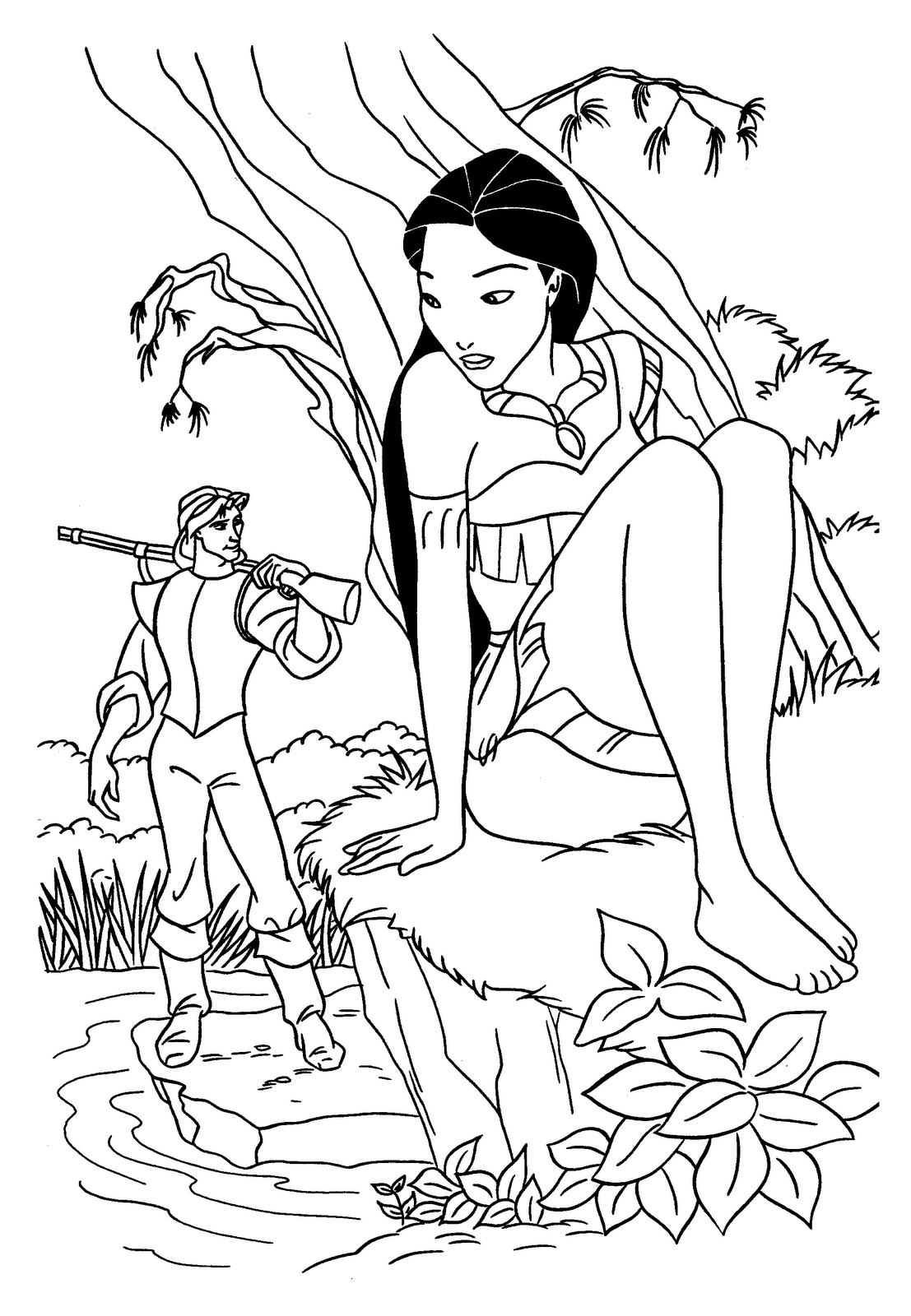 Disneyprincesscoloringpages disney princess pocahontas coloring