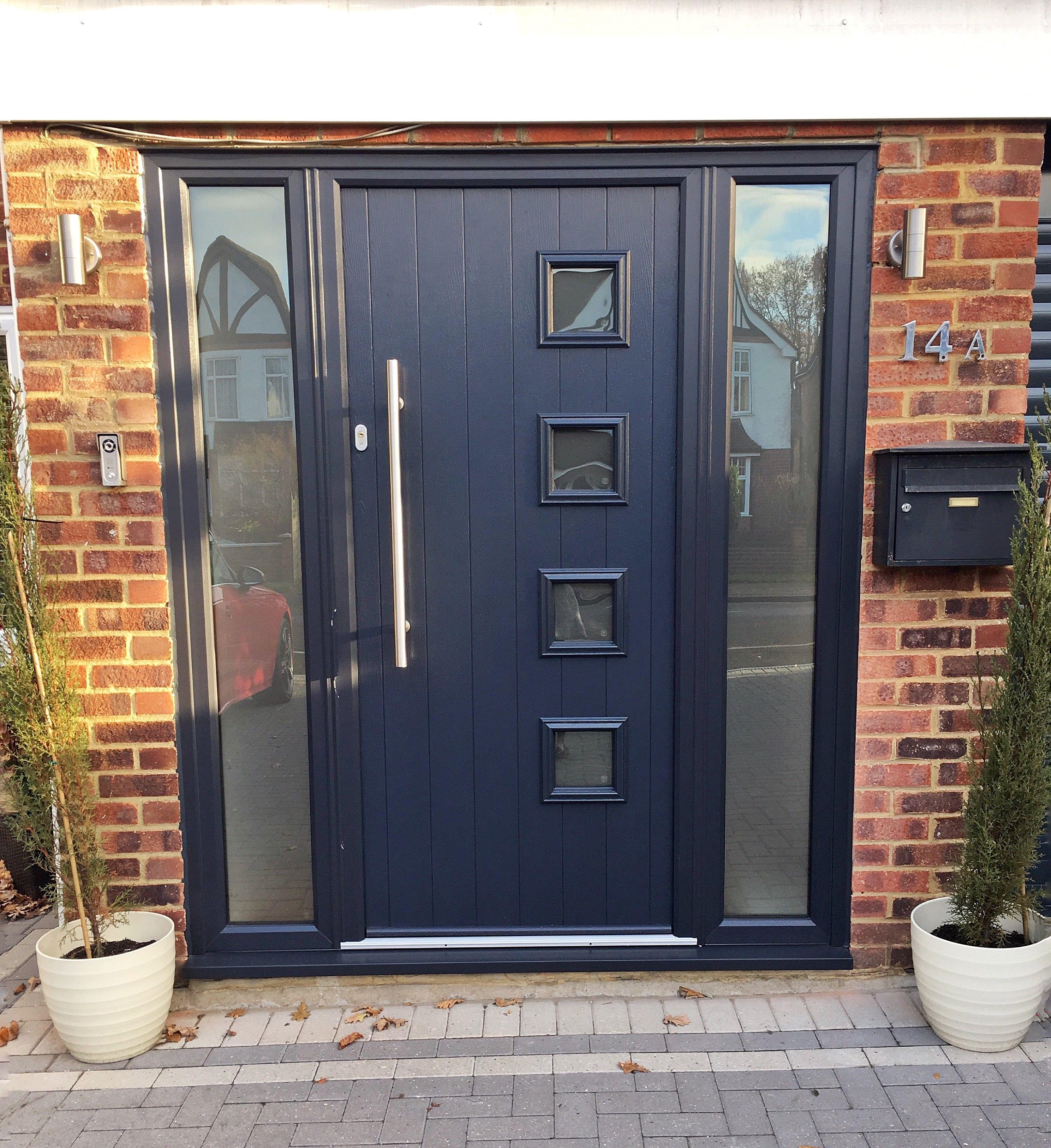 Solidor Composite Door Installed By Us In Mytchett Finished In Anthracite Grey With Side Lights Contemporary Front Doors Front Door Design Front Door Styles