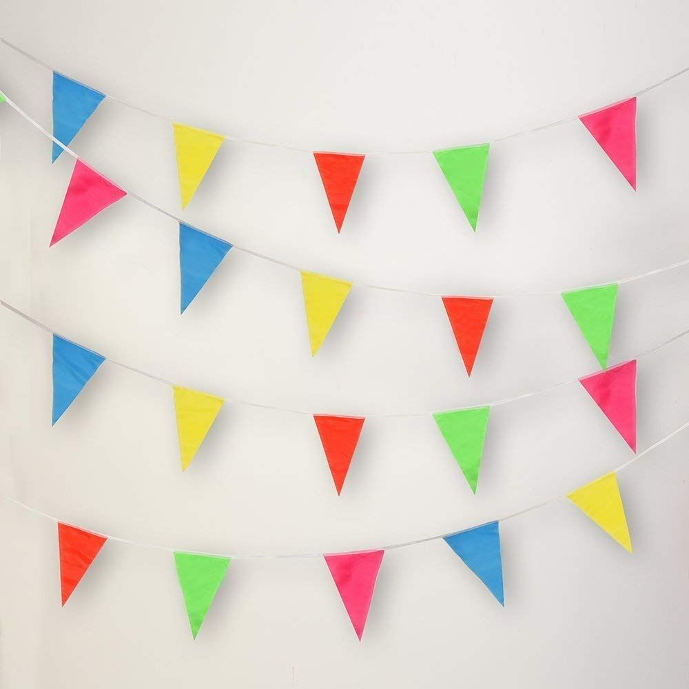 200 Pcs Multicolor Pennant Banner Flags,Isperfect 250 Ft For Party Decorations