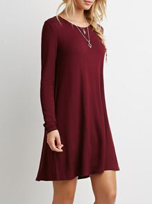 robe manches longues -rouge bordeaux -French SheIn(Sheinside)   mOdE ... f5f486618d34