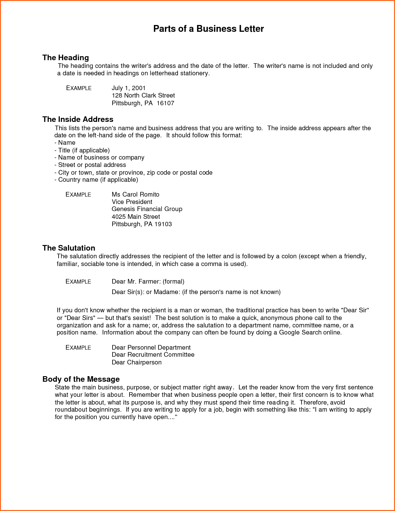 Business Letter Heading Format Contract Template Header Memo