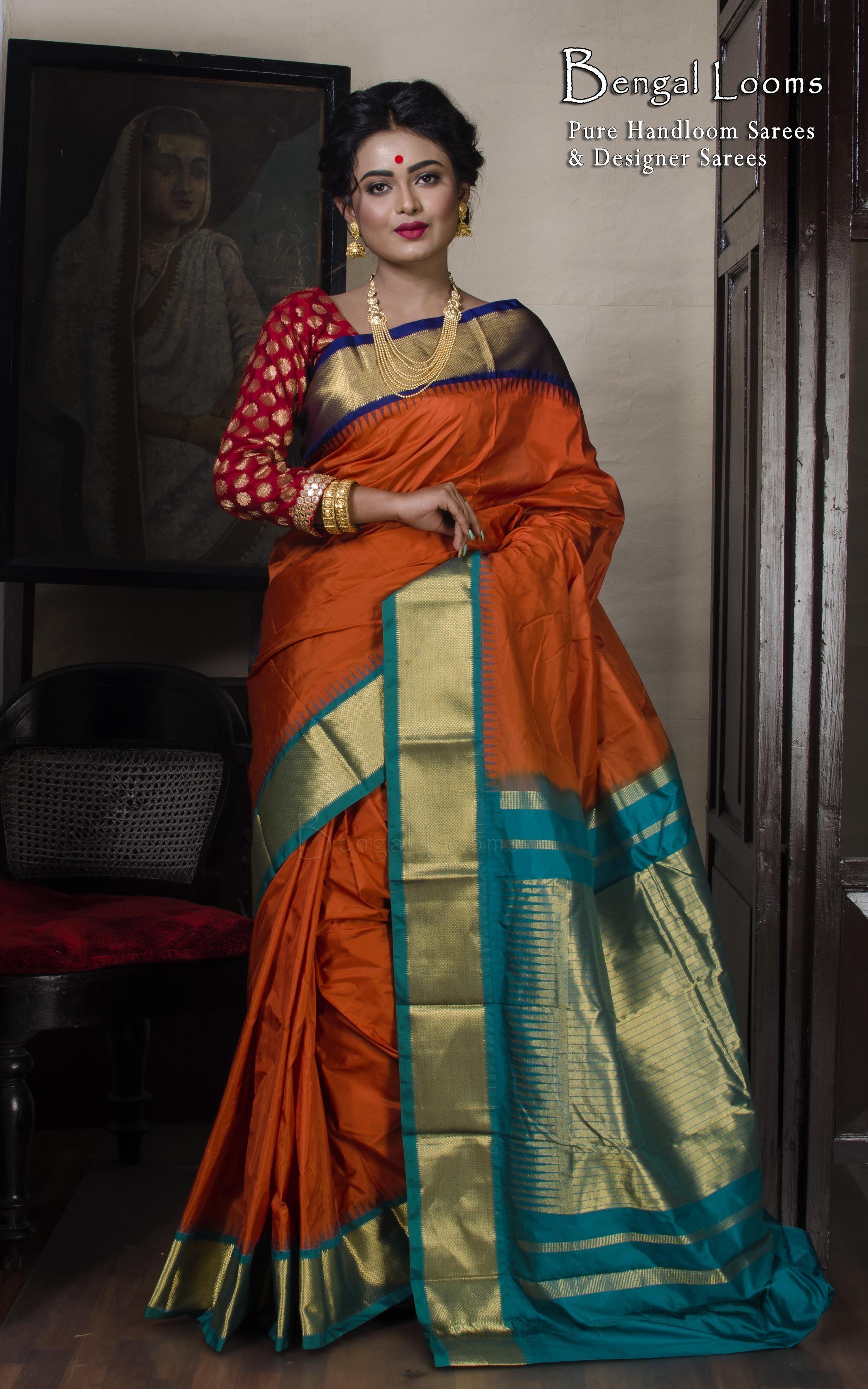 1d4ae5c820a509 Orange Color Kanjivaram Silk Saree With Ganga Jamuna Border ...