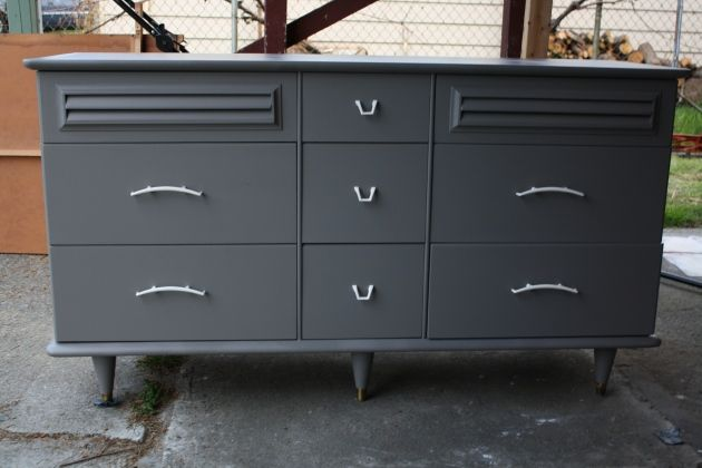 Gray and White Dresser