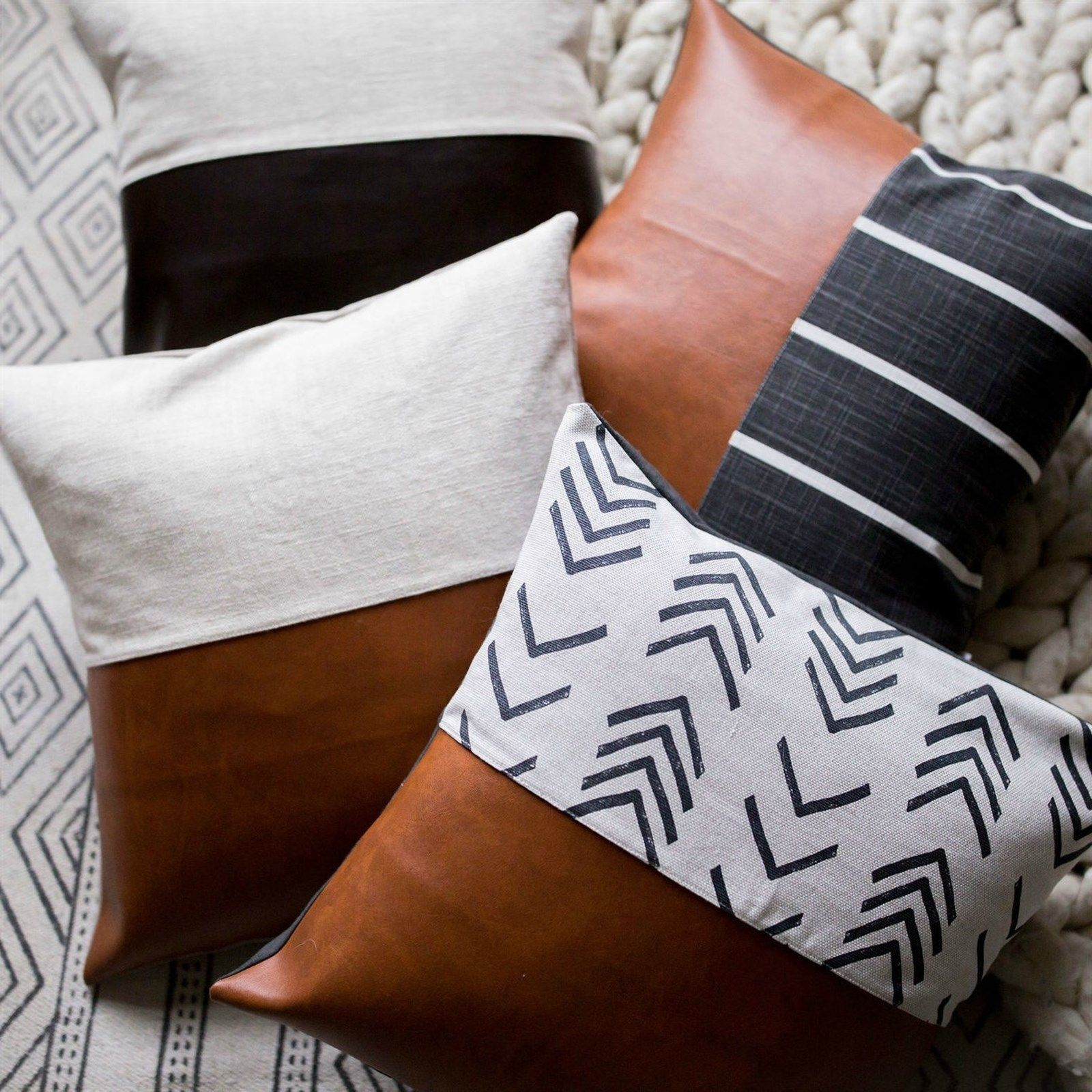 Leather Block Pillow Covers Diy Pillow Designs Leather Pillow Leather Throw Pillows
