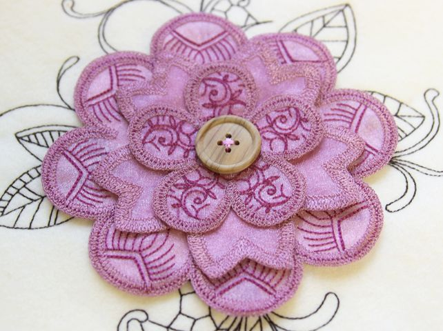 Urban threads fancy flower applique embroidery