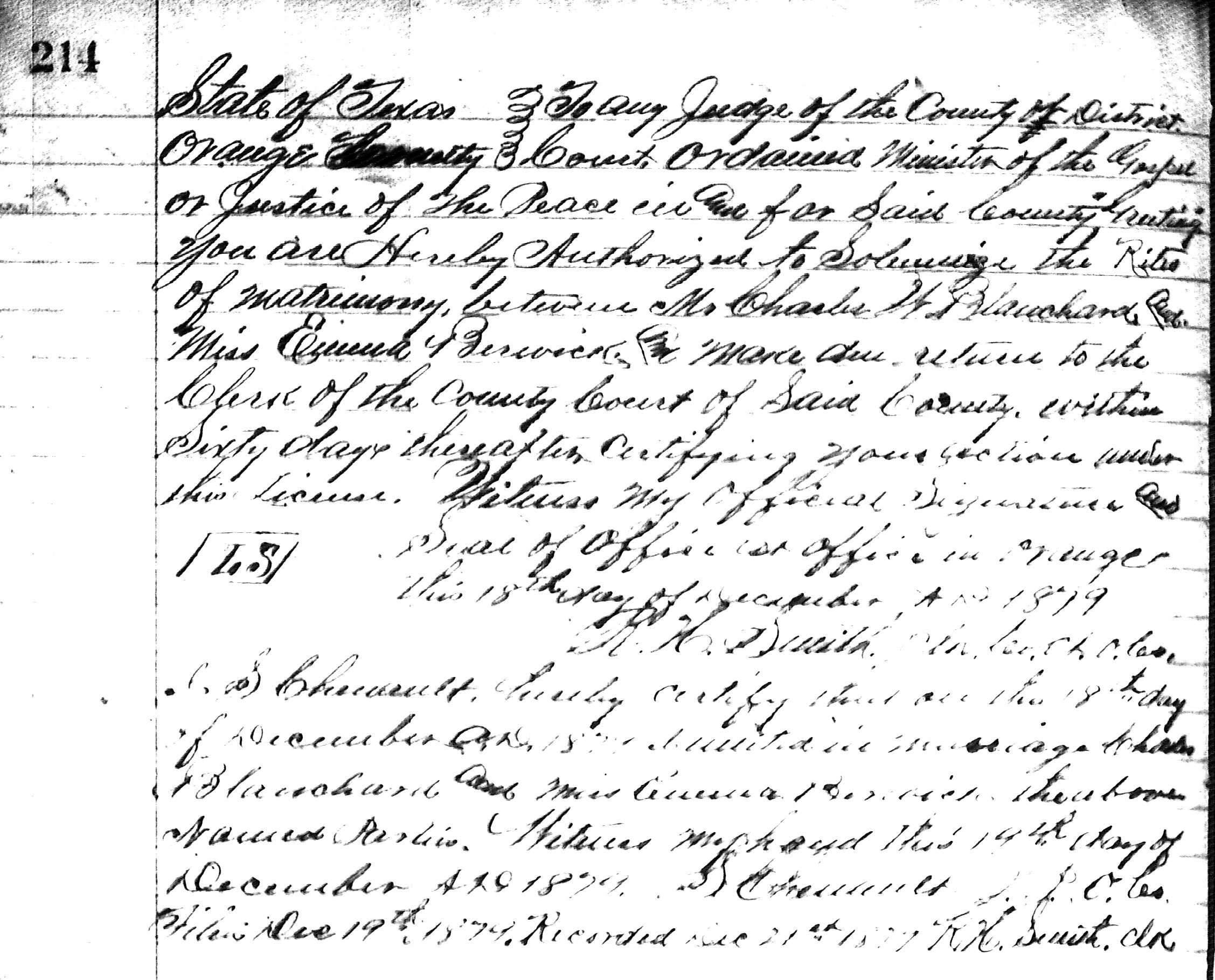 Charles William Blanchard Marriage License View Media Ancestry