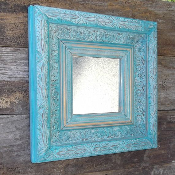 Teal and gold chunky framed mirror ornate home by tawnystreasures, $45.00