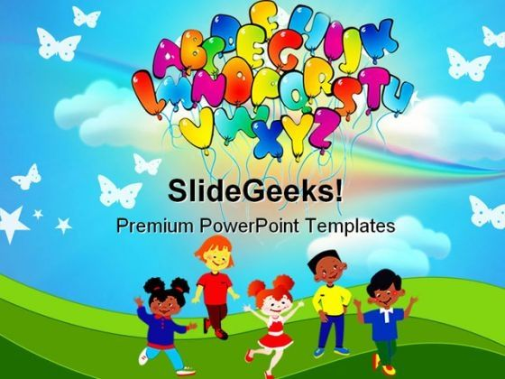 Alphabets02 Education PowerPoint Template 0810 PPT Template - easter powerpoint template