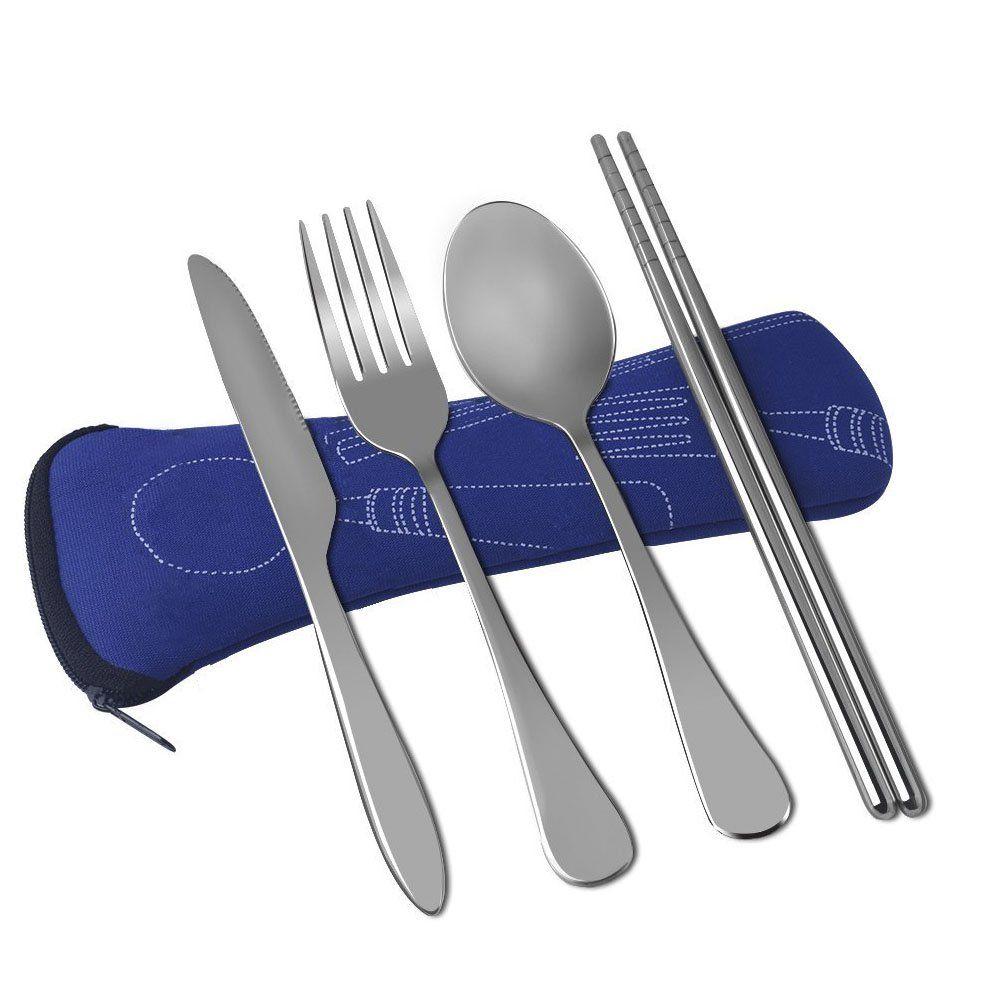 3 piece camping cutlery set Navy blue neoprene case