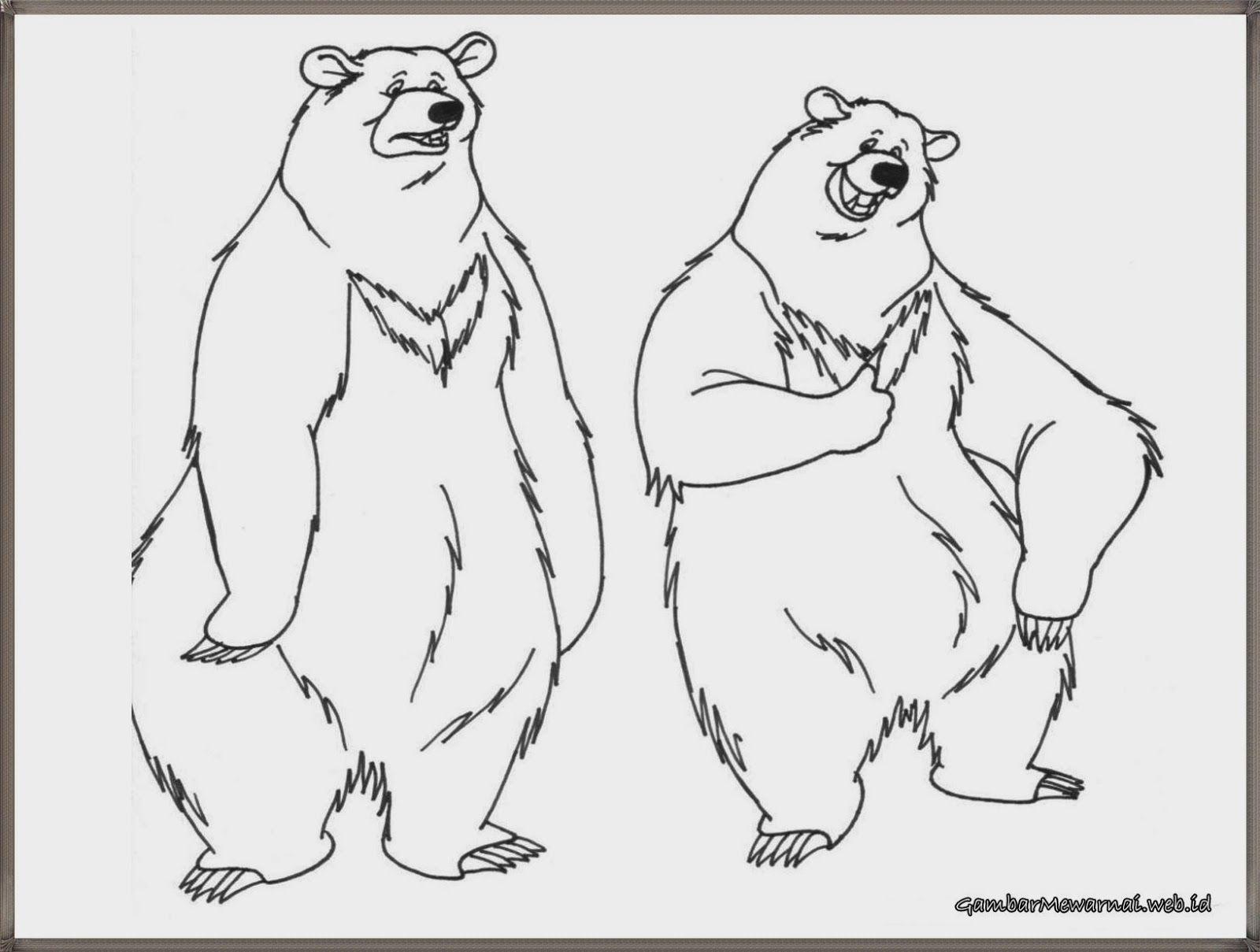 gambar mewarnai beruang sirkus sedang berdiri
