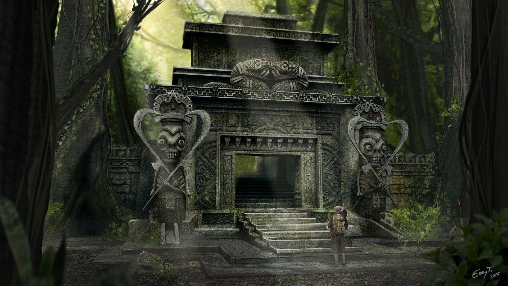 Aztec Temple Tattoo artstation - aztec temple entrance, eddy taylor   aztec