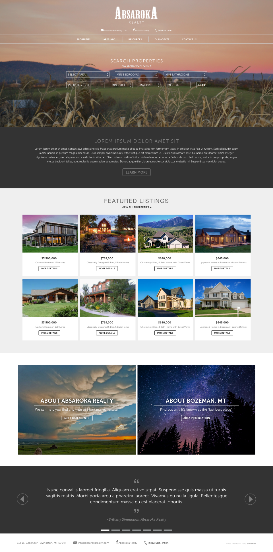 Website Design Concept For Absaroka Realty In Bozeman Montana Concept Design Website Design Bozeman