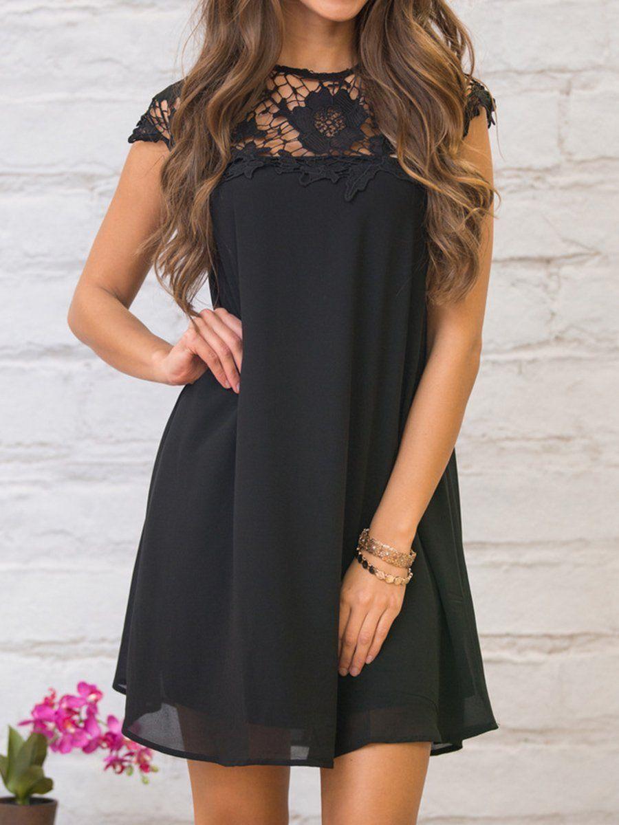Round Neck Decorative Lace Plain Shift Dress Lace Shift Dress Shift Dress Summer Shift Dress [ 1200 x 900 Pixel ]