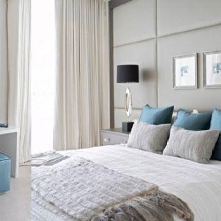Hoofdbord wand bedroom ideas pinterest slaapkamer en slaapkamers - Grijze wand taupe ...
