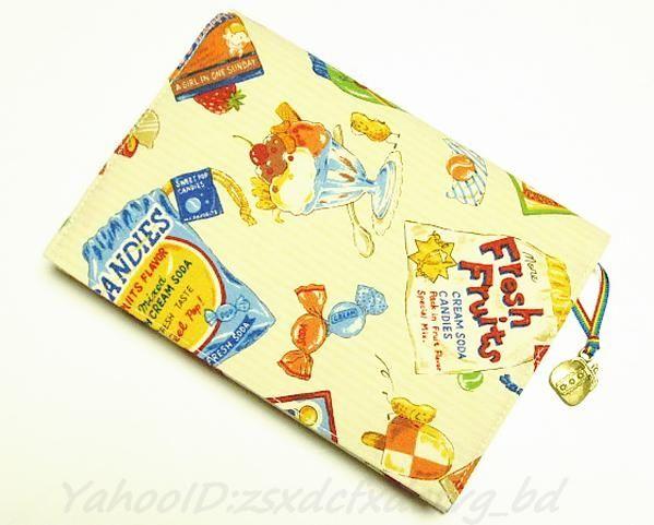 Book Cover 巛文庫本ブックカバー 外国のお菓子 パフェ飴 ハンドメイド インテリア 雑貨 Handmade ¥700yen 〆06月01日