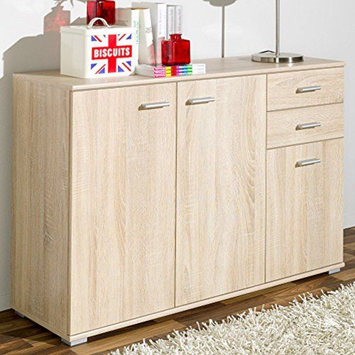 Cs Schmal Sideboard Oak Cabinet Wooden Chest Of Drawers Book Shelf Large Commode Cupboard 76 X 106 5 X 35 Cm Wooden Cupboard Sideboard Storage Oak Sideboard