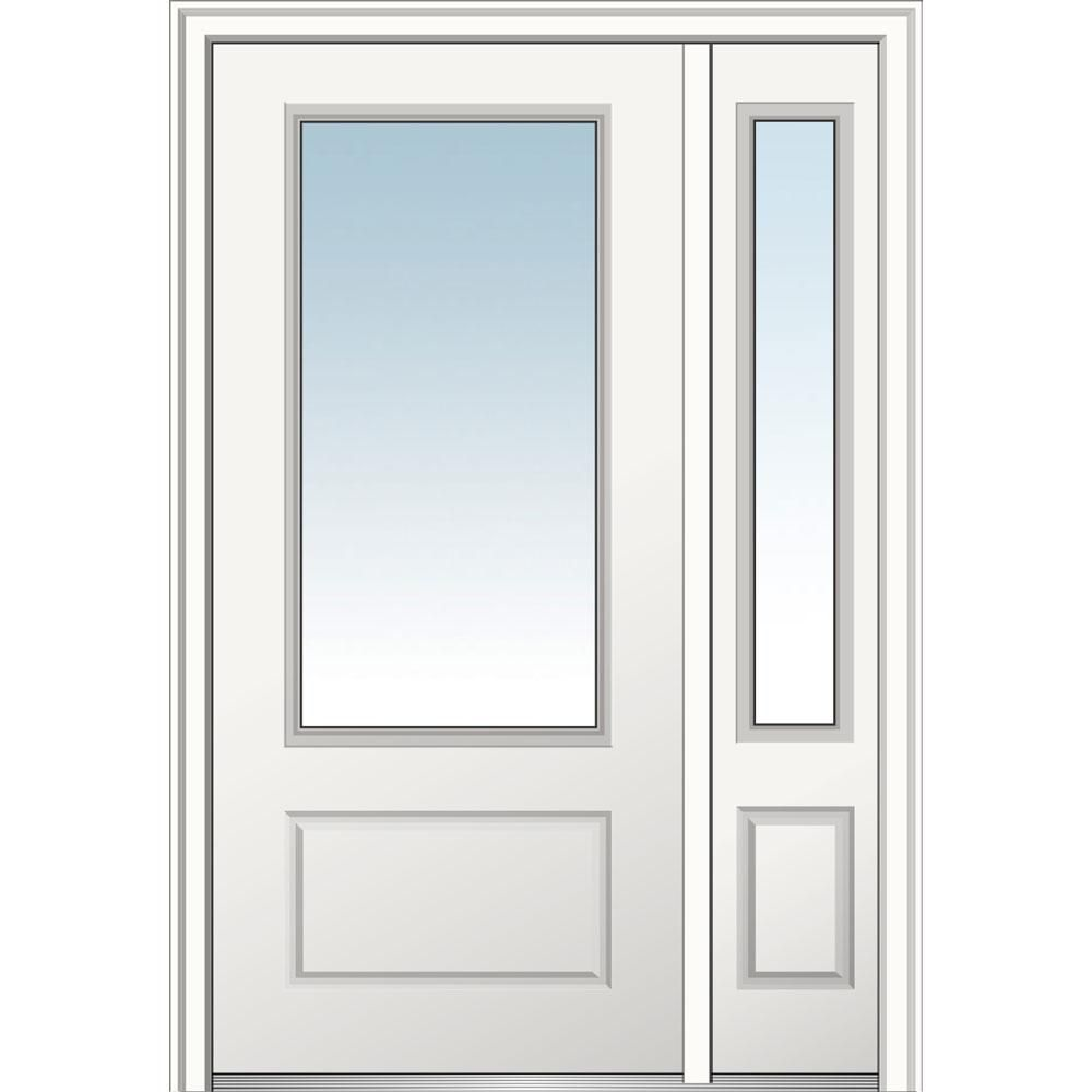 Mmi Door 51 In X 81 75 In Clear Glass Right Hand 3 4 Lite 1 Panel Primed Fiberglass Smooth Prehung Front Door With One Sidelite Z029447r The Home Depot Exterior Doors With Sidelights