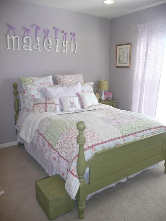 Girlu0027s Rooms   Sherwin Williams   Veiled Violet   Lavender Walls, Green  Furniture, Girl