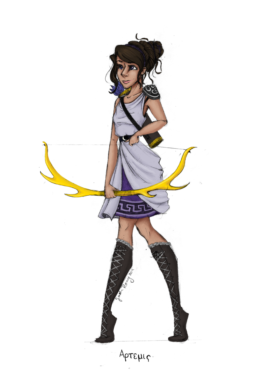 Goddess of the hunt the moon and is patron to the hunters if Artemis