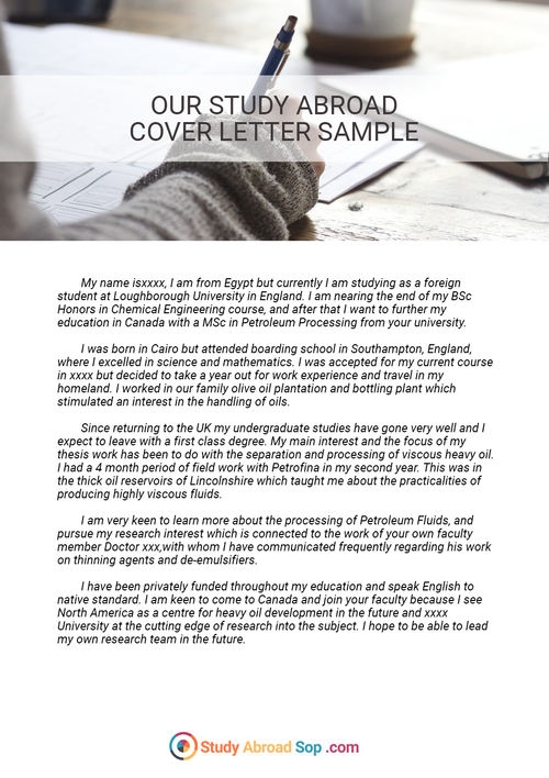 Writing can be hard but this cover letter for study abroad sample – Statement of Interest Cover Letter