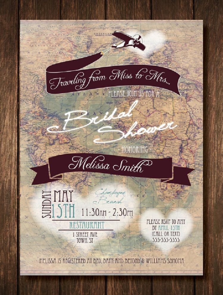 travel themed bridal shower invitation wording