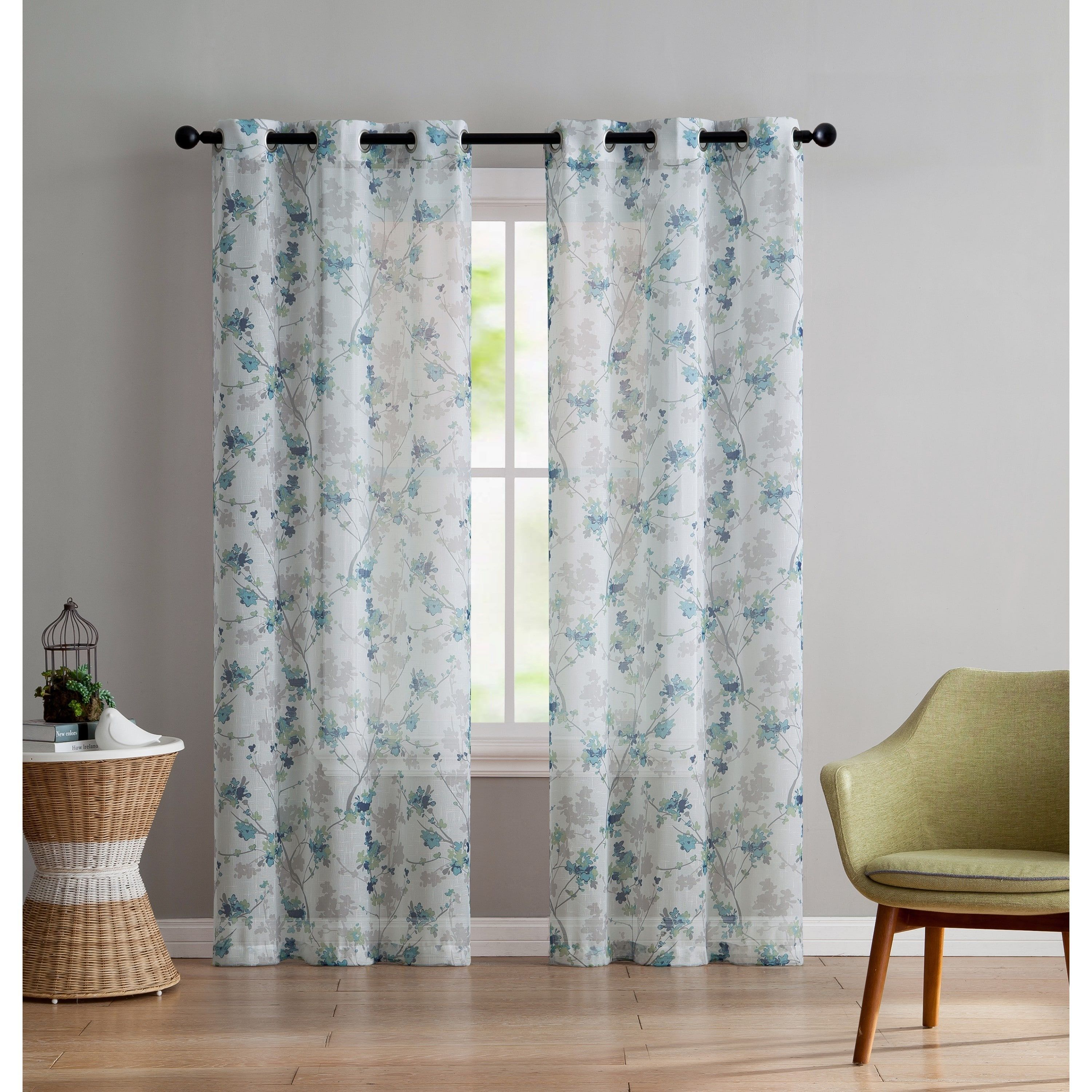 Latest window coverings 2018  vcny home jasmine semisheer printed curtain panel pair  inches