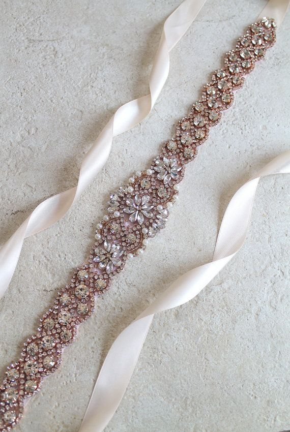 Rose gold Bridal Crystal Pearl Sash. 24\