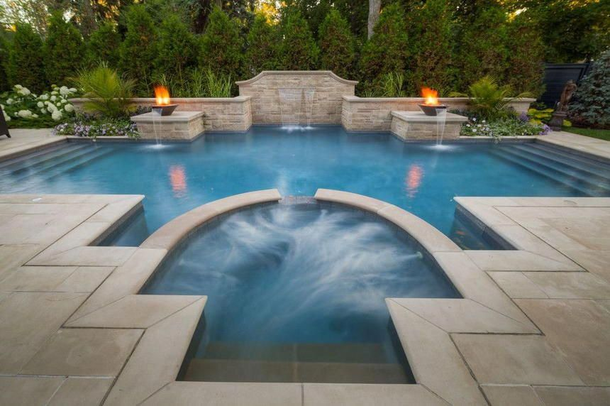 A Custom Design Of The Hot Tub Is Shown Beautifully In The Picture Below The Attraction Level Of This Hot Hot Tub Outdoor Backyard Pool Designs Backyard Pool