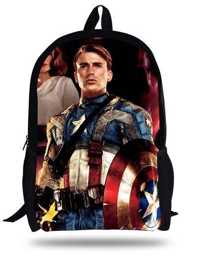 16-inch Mochilas Avengers backpack For Teenage Boys Children School Bags  Heroes Cartoon Backpack Captin America Bags Age 7-13 a5fa2112dd134