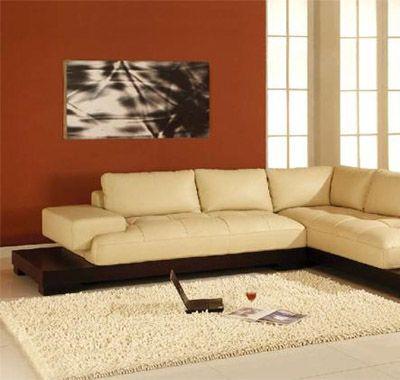 Manhattan Cream Color Leather Sectional Sofa