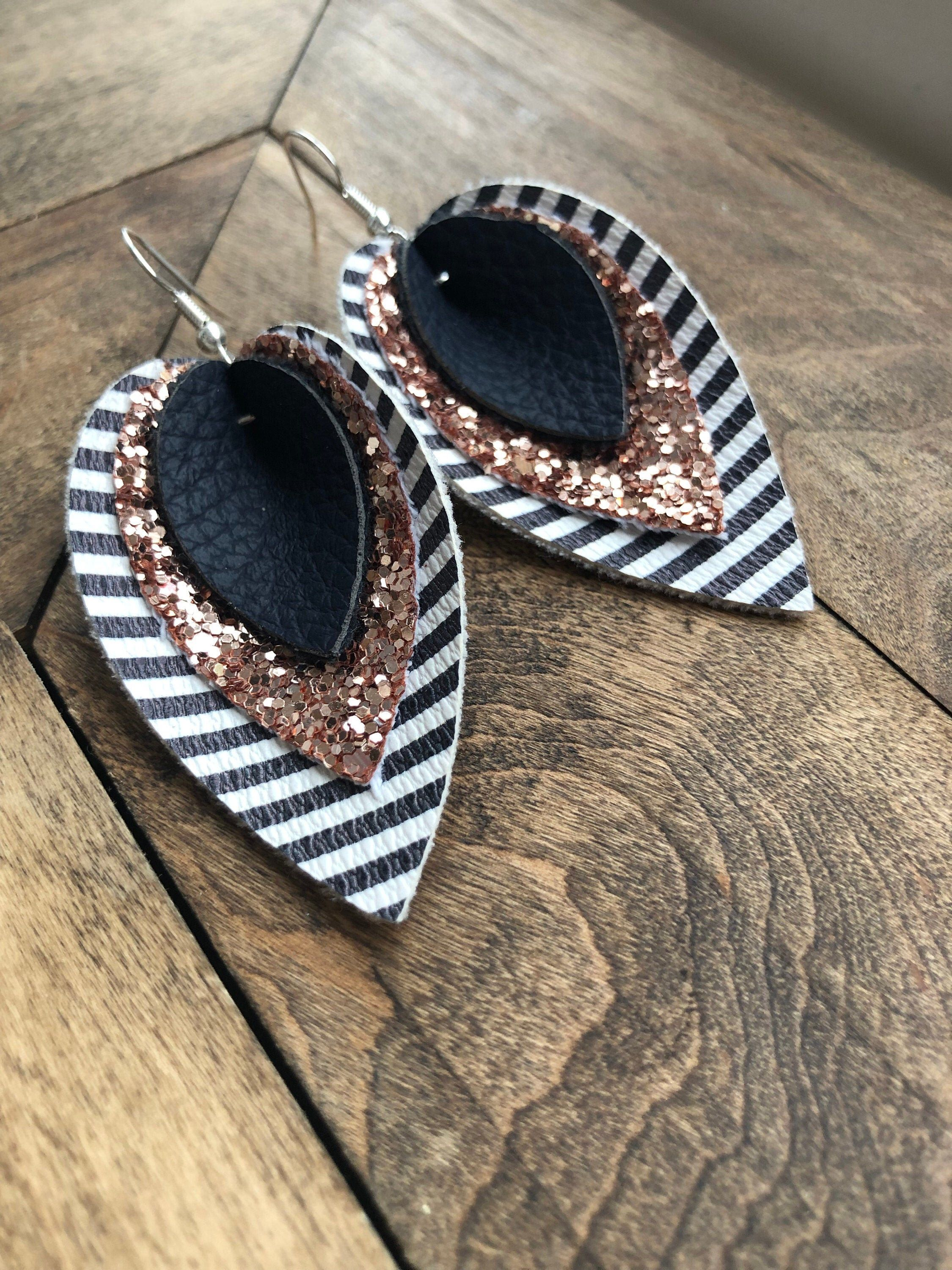 Photo of Earrings, Dangle, Faux Leather, Rose Gold, Glitter, Sparkle, Navy Blue, Stripes, Modern, Fall Colours