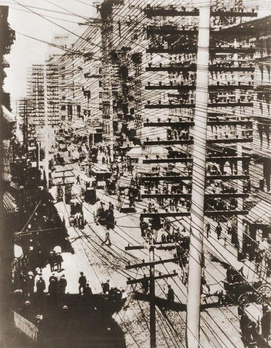 The insane mess of telephone wires over New York in the 1880′s, only a little more than 10 years after the telephone was first patented…