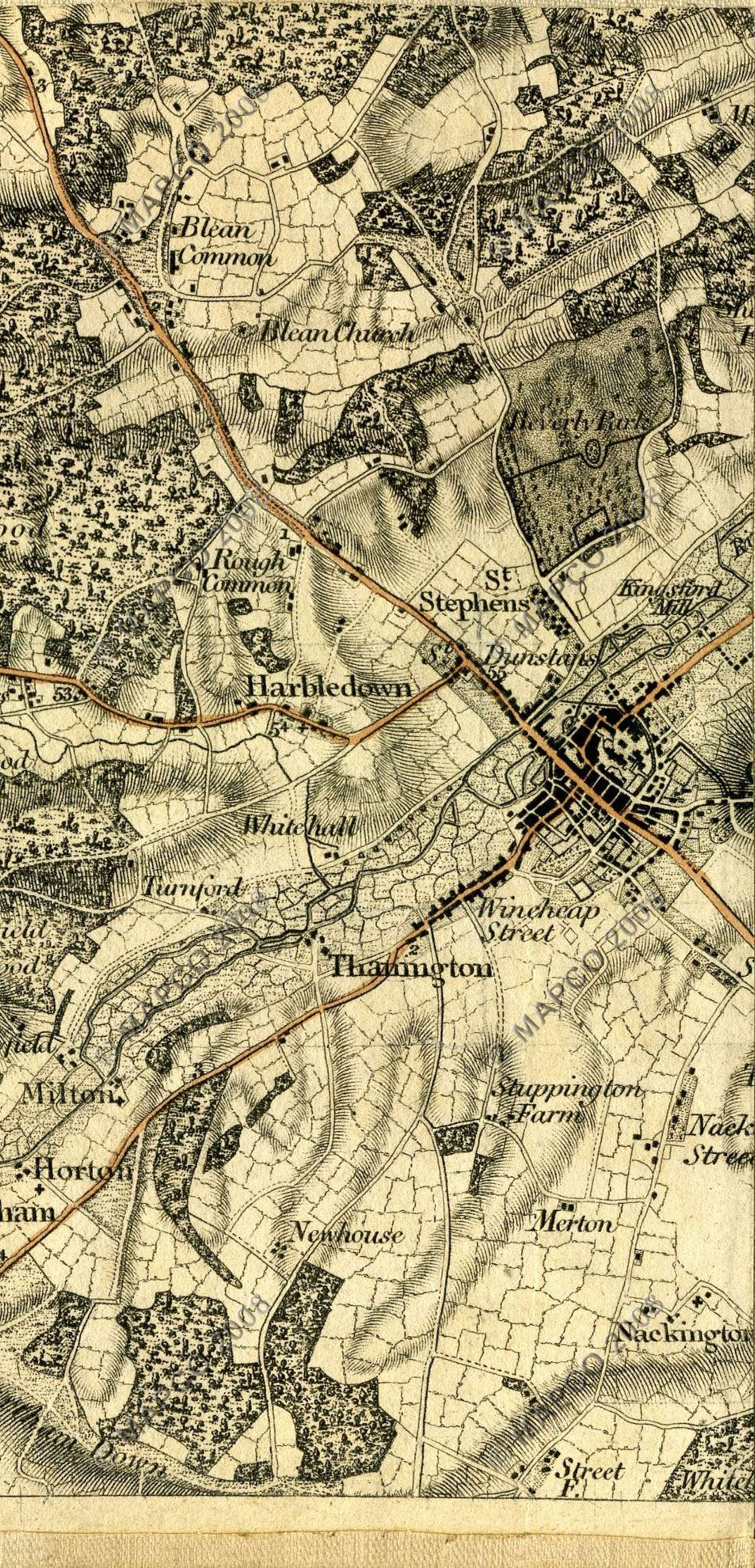 Topographic Map London.First Os Map Of Canterbury Interactive Map Of Kent Included 1801