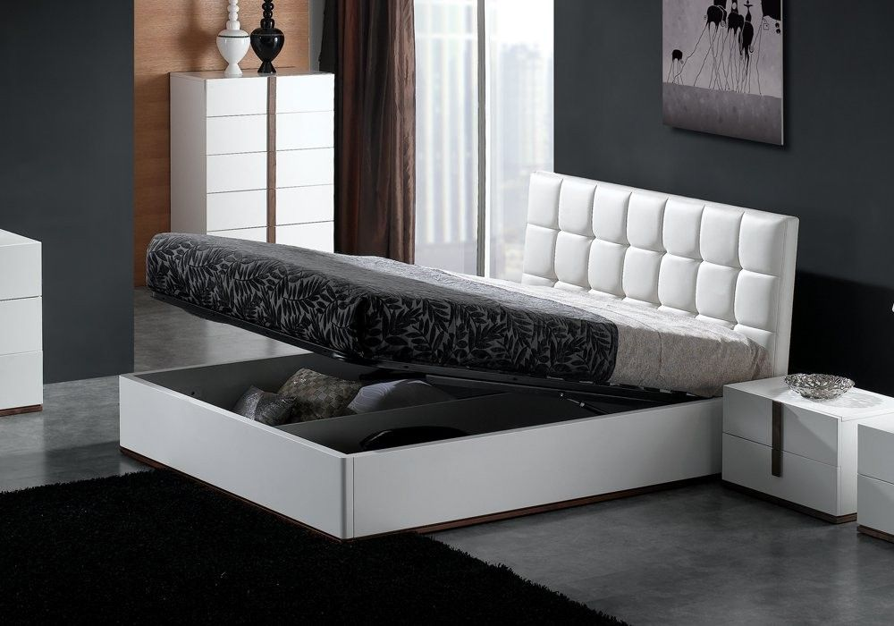Montina High Gloss/Faux Leather Storage Bed U2013 WHITE