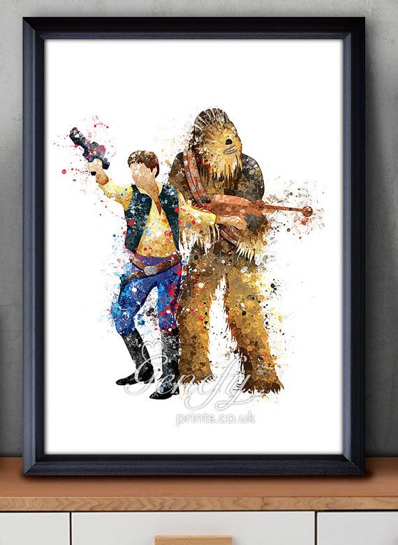 Star Wars Han Solo Chewbacca Watercolor Art Poster door GenefyPrints