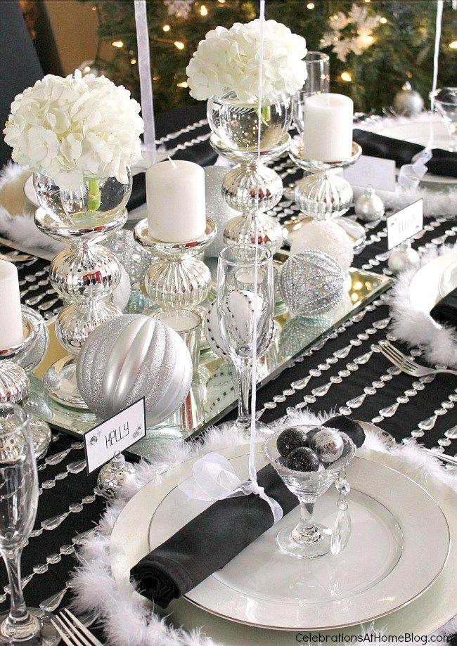 Black White Silver Holiday Table Elegant Table Settings