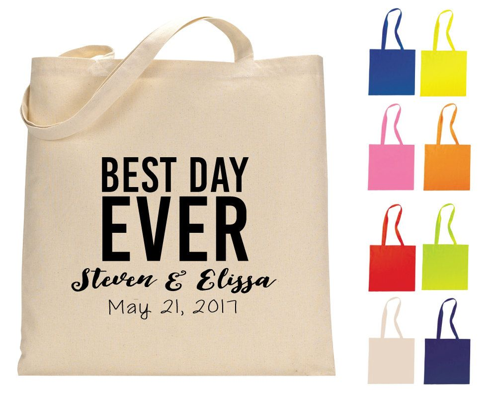best day ever tote bag personalized tote bags wedding tote bags