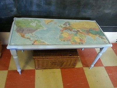 Map coffee table glass top blue Desks Glass and Coffee