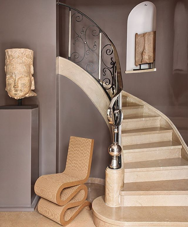 Best Custom Stone Stairwell With Forged Iron And Chrome 400 x 300