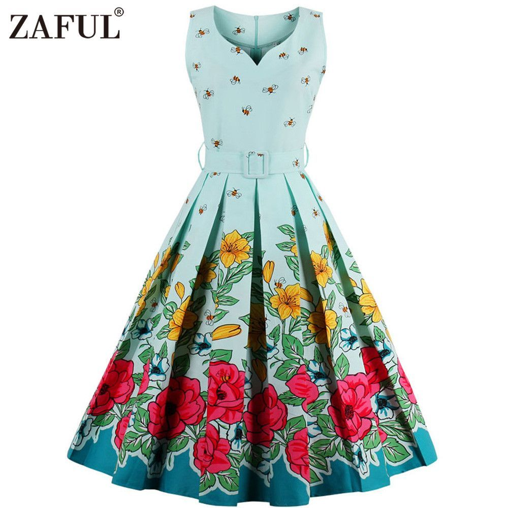 Zaful brand vintage v neck print women dress retro robe