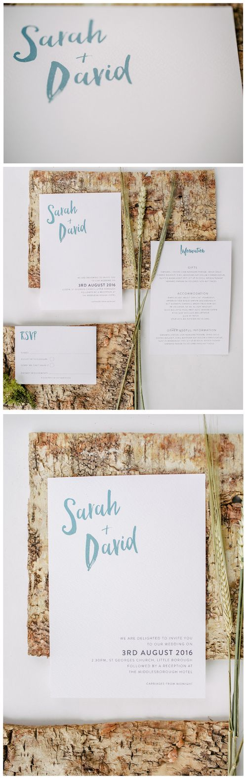 Simple and modern wedding invitation with taupe green coloured ink ...