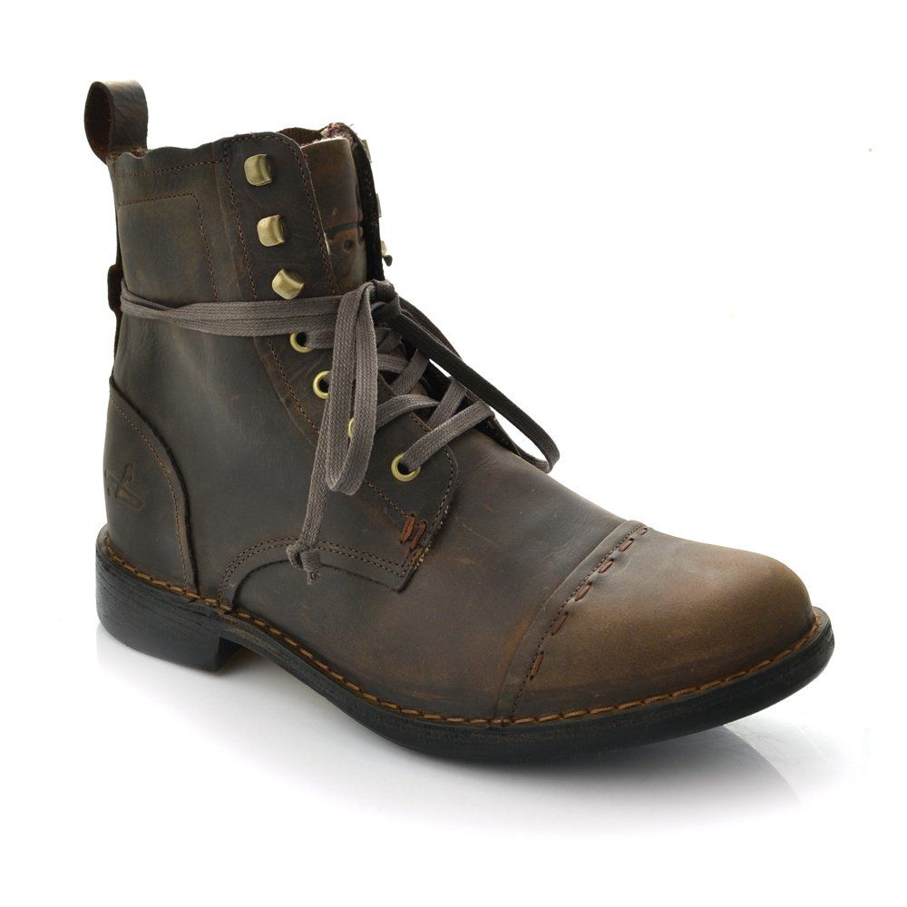 J Shoes Manor Men's Dark Brown Leather Military Style Ankle Boots A1403