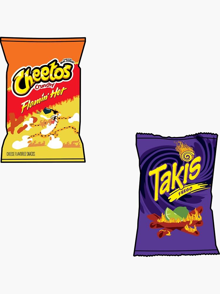 Takis And Hot Cheetos Sticker By Daisy Sock Affiliate Cheetos Hot Takis Sock Ad Cute Stickers Stickers Cheetos