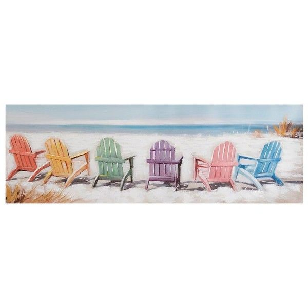 Colorful Beach Chairs Canvas Art Print 70 Liked On Polyvore