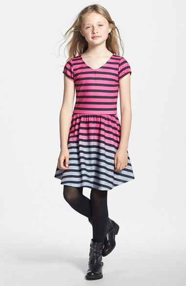 W Girl Ombré Stripe Ponte Knit Skater Dress (Big Girls) available at #Nordstrom