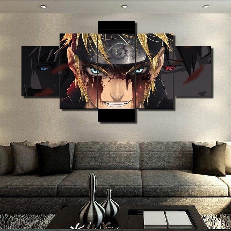 5 Pieces Home Decor Wall Art Hd Printed Naruto Anime Canvas Paintings Wall Art For Bedroom Living Room Wall Decor Unframed Naruto Decoracao Telas Para Quarto Ideias De Sala De Tv
