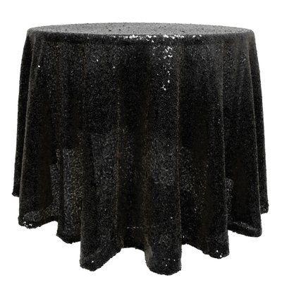 The Party Aisle Round Sequin Tablecloth Colour Black Size 108