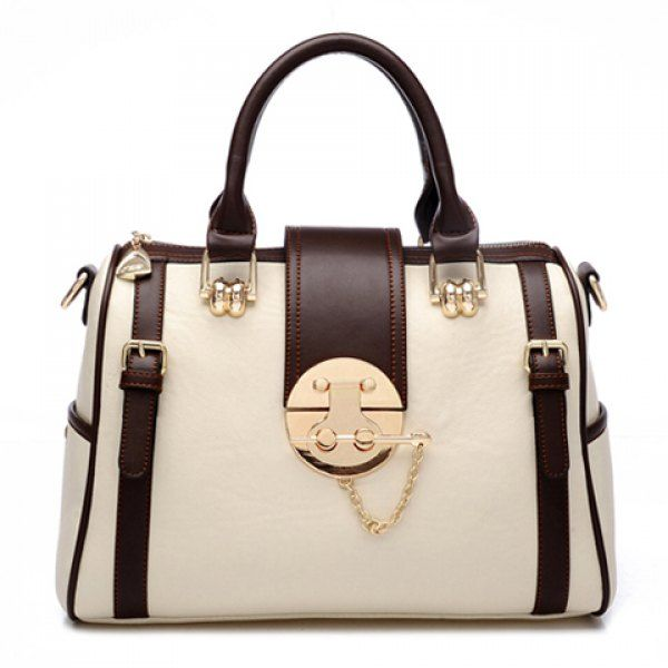 Stylish Buckle and Color Block Design Tote Bag For Women, OFF-WHITE in Tote Bags