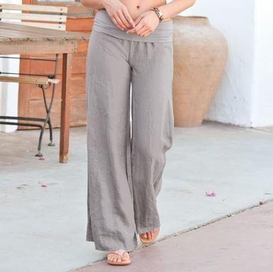 Linen pants with yoga waistband